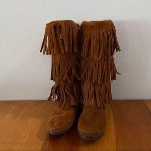 Minnetoka Chestnut Fringe Tall Boots